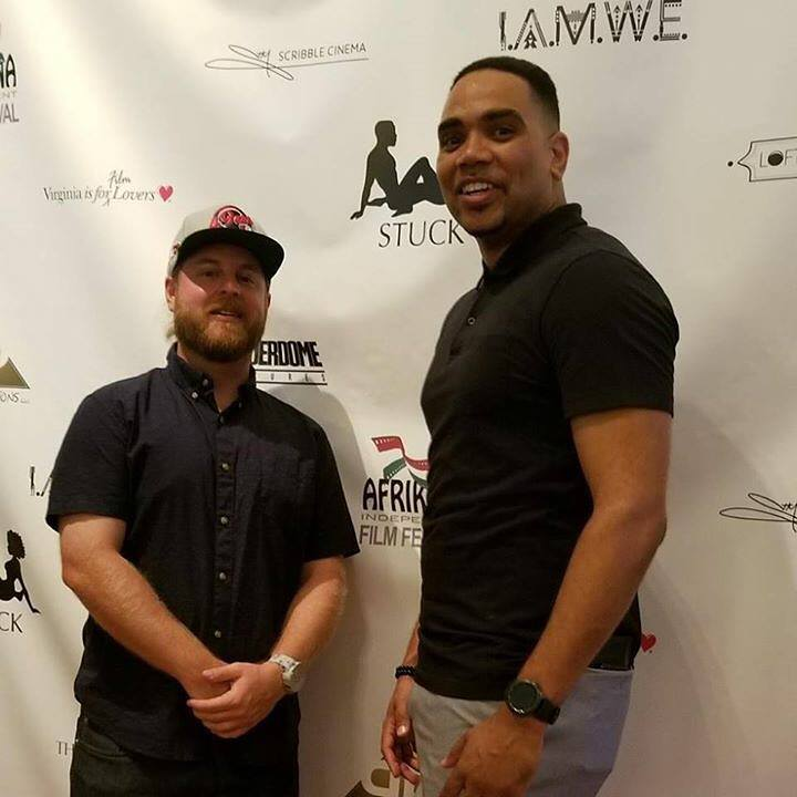 Jon Bibbs (right) with   Stuck  Director of Photography Stephen Miles at the film's table read event in Richmond, VA.