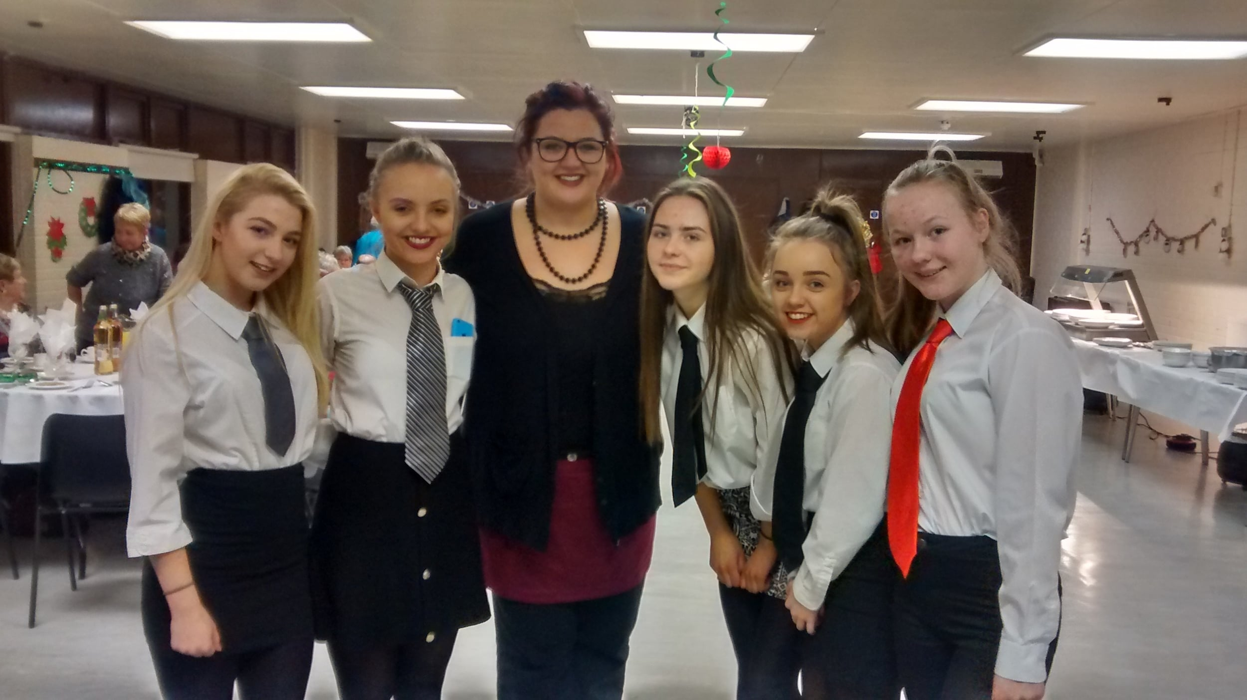 Youth worker Jayne (centre) with some lovely waitresses!