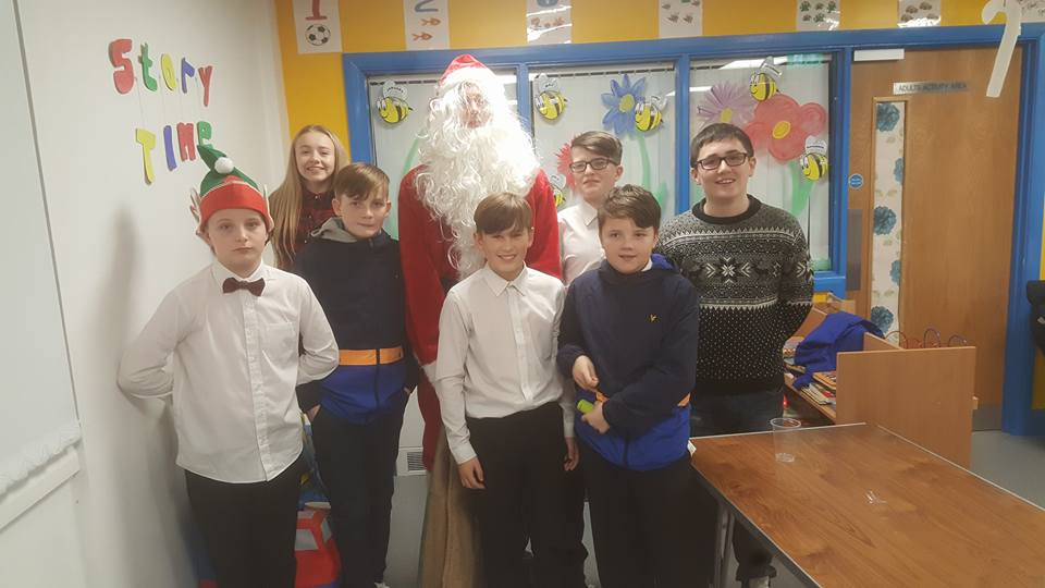 Young people with Santa