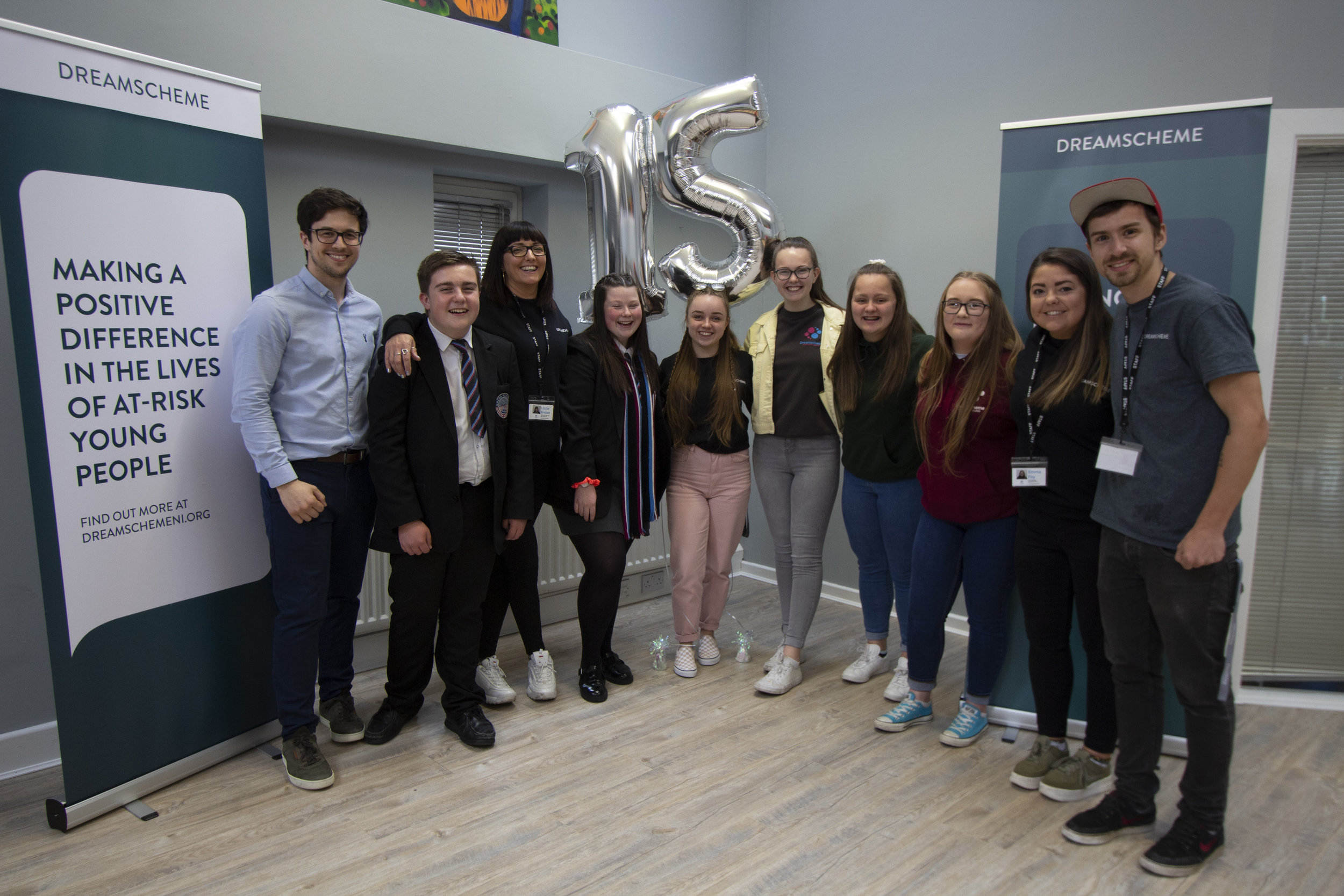 Current and past participants of Dreamscheme with youth workers Lizzie Brown, Emma Foy, Stephen McCombe and chief executive Stephen Mullan.