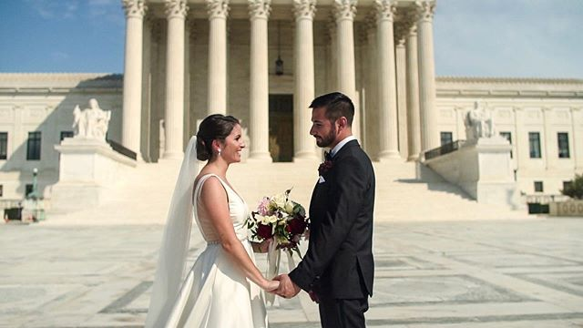 We've worked with so many cool couples this year - Adam and Mo being one of them! What a sight to see them have their first look at the Supreme Court!#motivationalmonday #dcwedding #kjrstudio #weddingfilm
