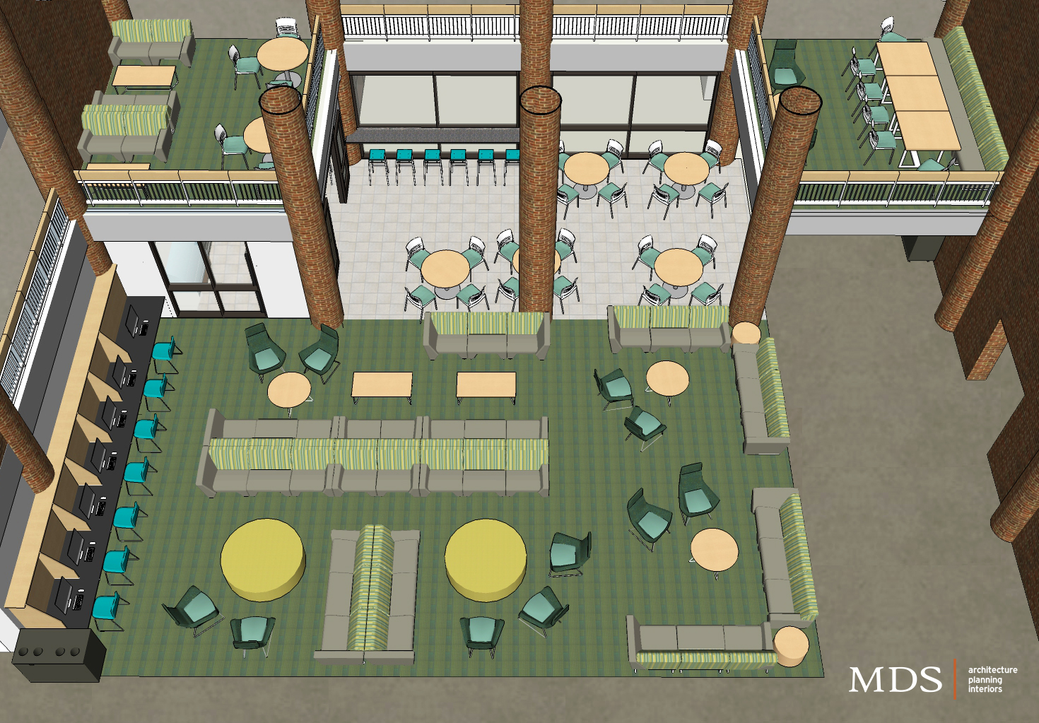 Above is an image showing what the furniture on second and third floor of Case will look like.