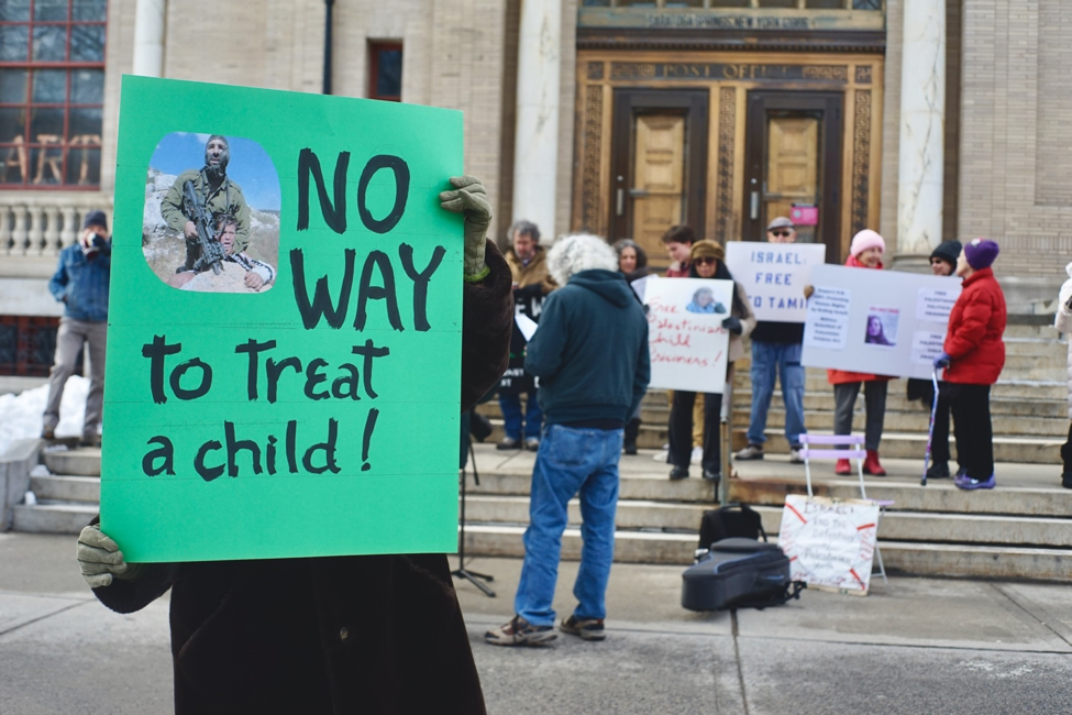 The day was bitterly cold, but protestors held out in good spirits.