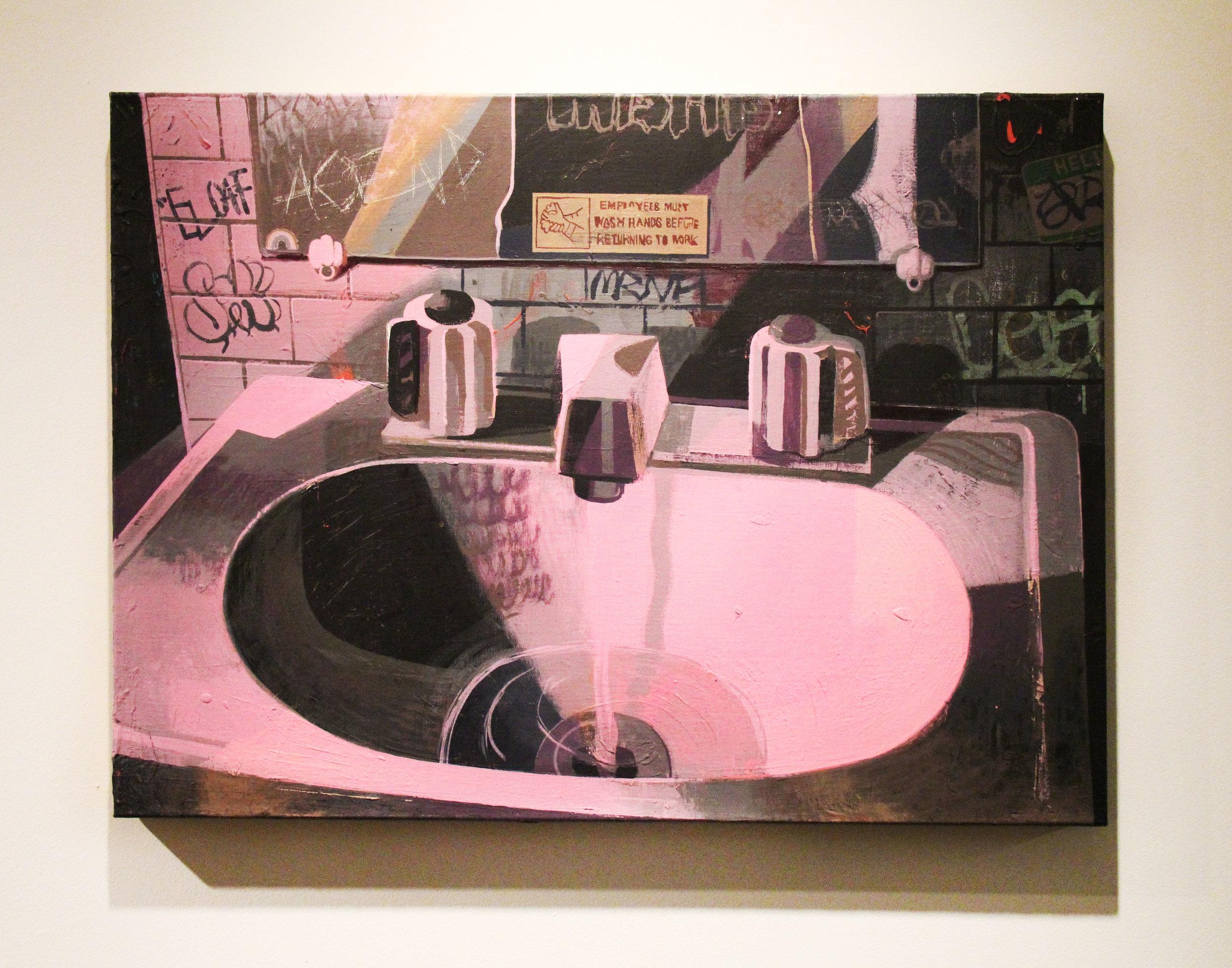 Bathroom at the Bar;  Flashe and acrylic on linen; 2016