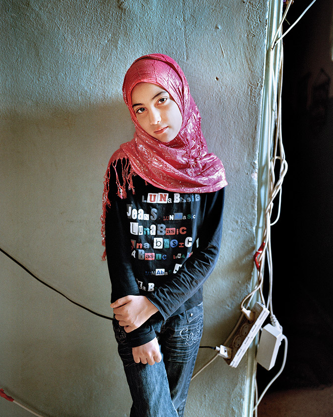 Samira, a young girl in the Palestinian refugee camp Bourj El Barajneh in Beirut, Lebanon