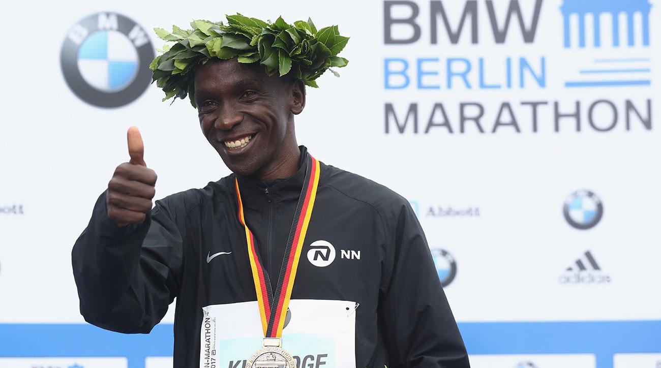 Eliud Kipchoge after winning the 2018 Berlin Marathon