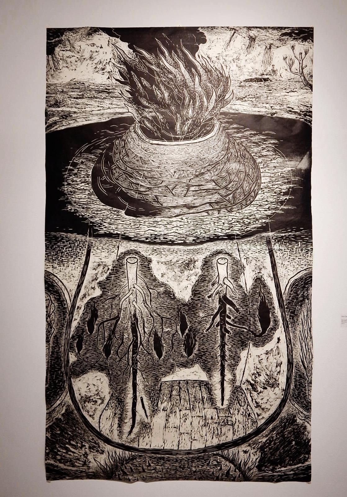Sean Caulfield,  Burning Roots , Woodcut, 2014