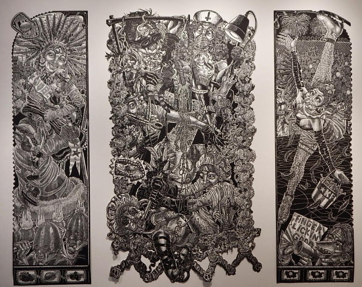 Tony de los Reyes,  The Transformation of Brandy Baghead , Woodcut, 2009