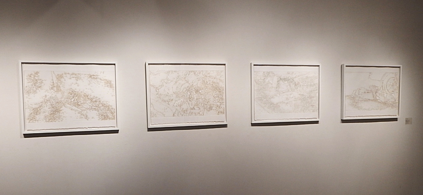Miguel Aragon,  Brutal Enfrentamiento , Burnt residue embossing, 2013