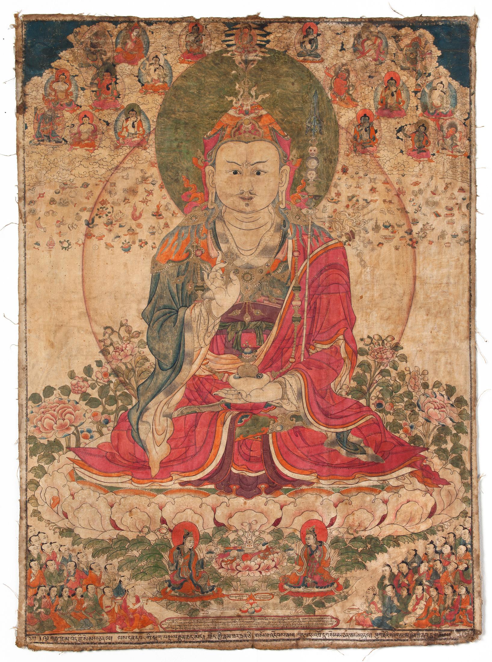 Padmasambhava, Tibet, 19th century, Ground mineral pigment on cloth, 36 1/4 x 28 1/4 inches, image courtesy Rubin Museum of Art