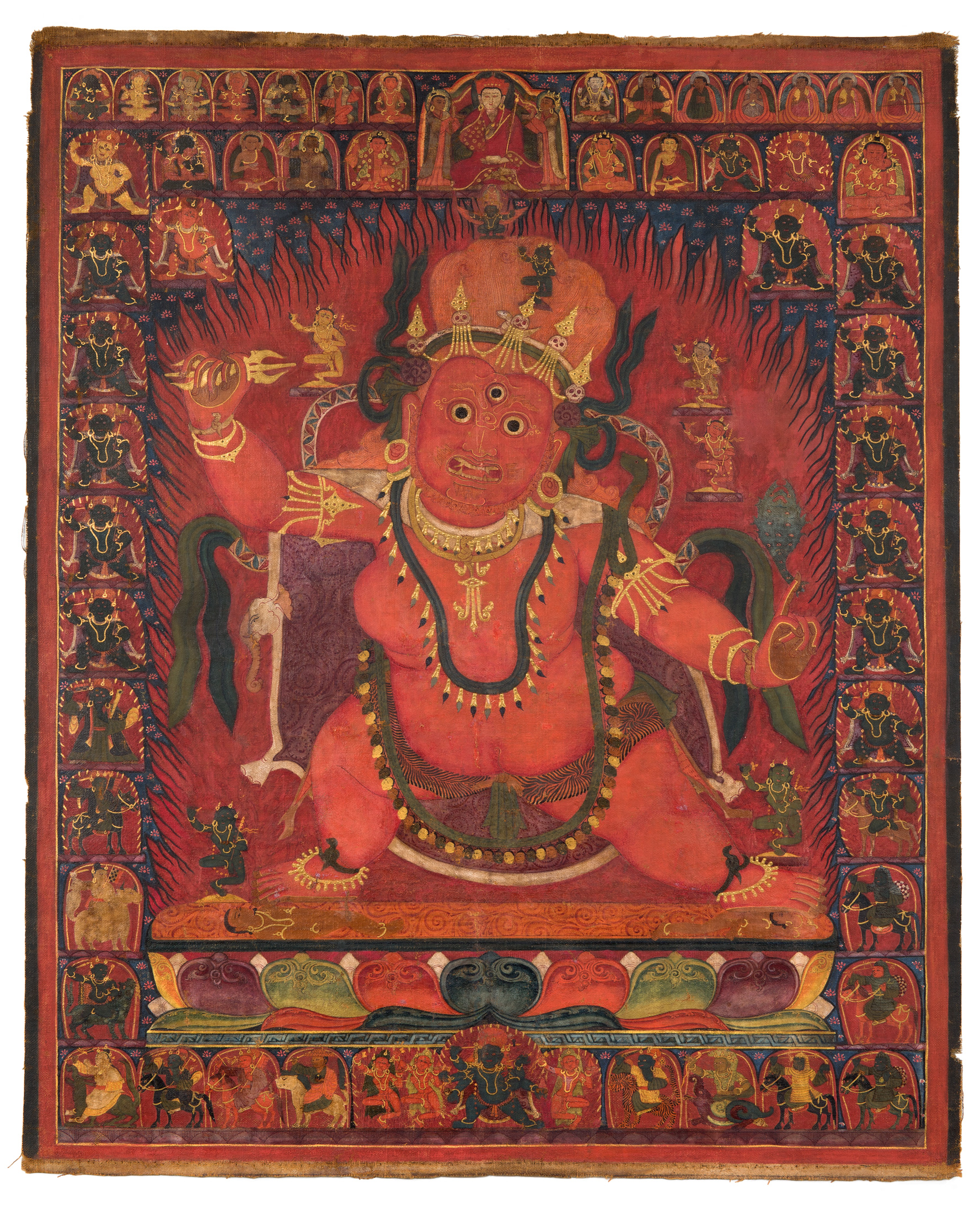 Padmasambhava as Guru Drakpo, Tibet, 15th century, pigment on cloth, 34 1/2 x 29 3/8 inches, image courtesy Rubin Museum of Art