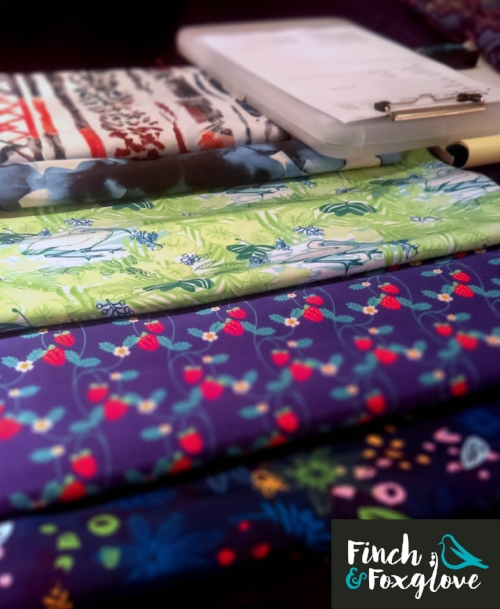 fabric samples and clipboard