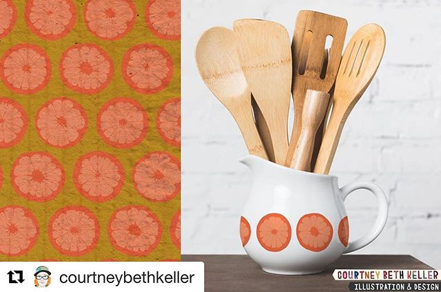 Finch @courtneybethkeller shared this summer citrus pattern and we love it! Currently working on the @MakeitinDesign #summerschool2019 #intermediate #CitrusGrove trend brief. This is my Solid 70's Grapefruit pattern, hand drawn in ink and colorized / mocked up. #surfacepatterndesign #printandpattern #finchandfoxglovefb #finchandfoxglove #onelittleprintshop #courtneybethkeller #coloradodesigner #licensingartist #organic #fruit #citrus