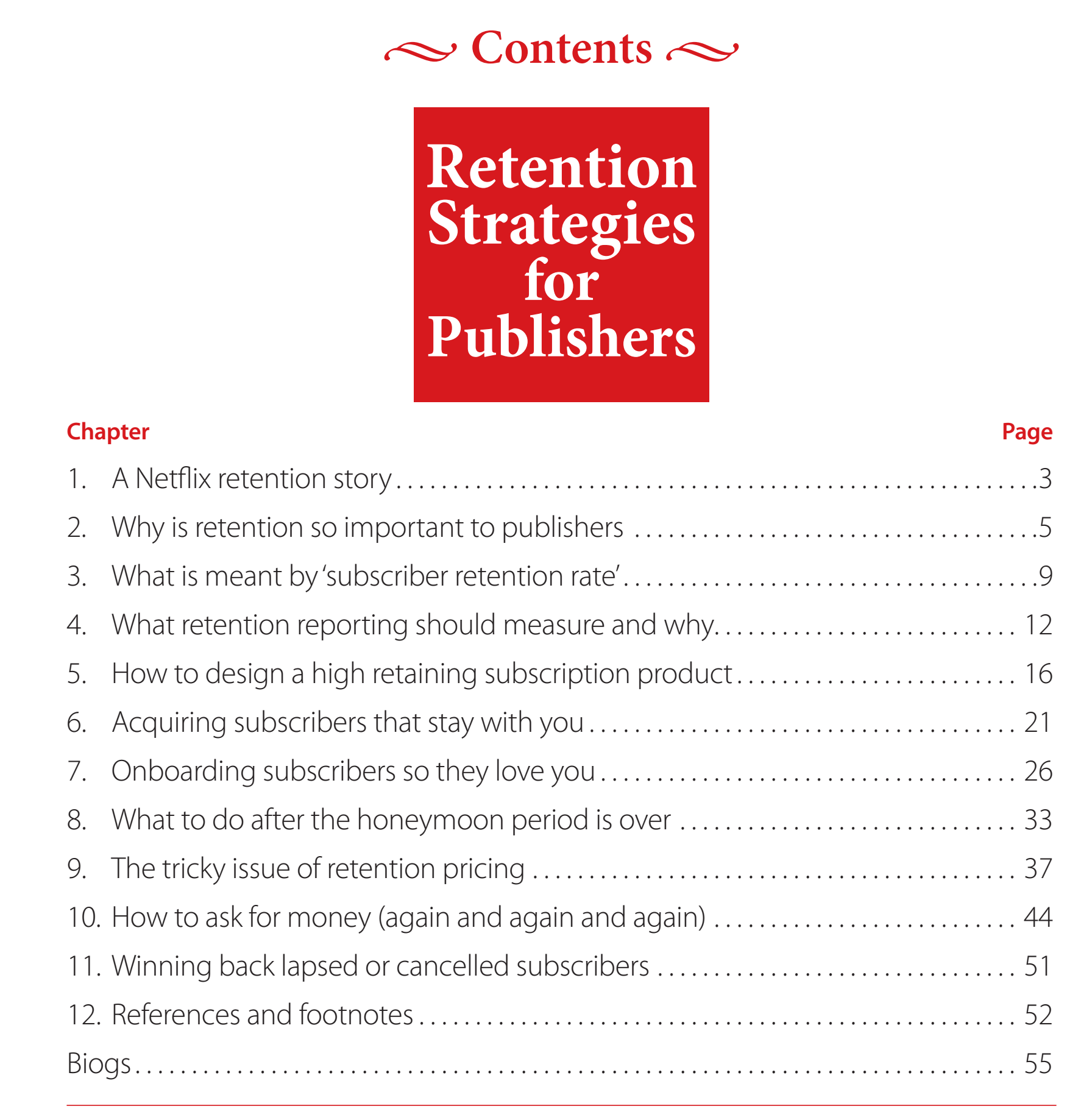 The contents page of the InPublishing Guide to Retention Strategies for Publishers. Click to expand.