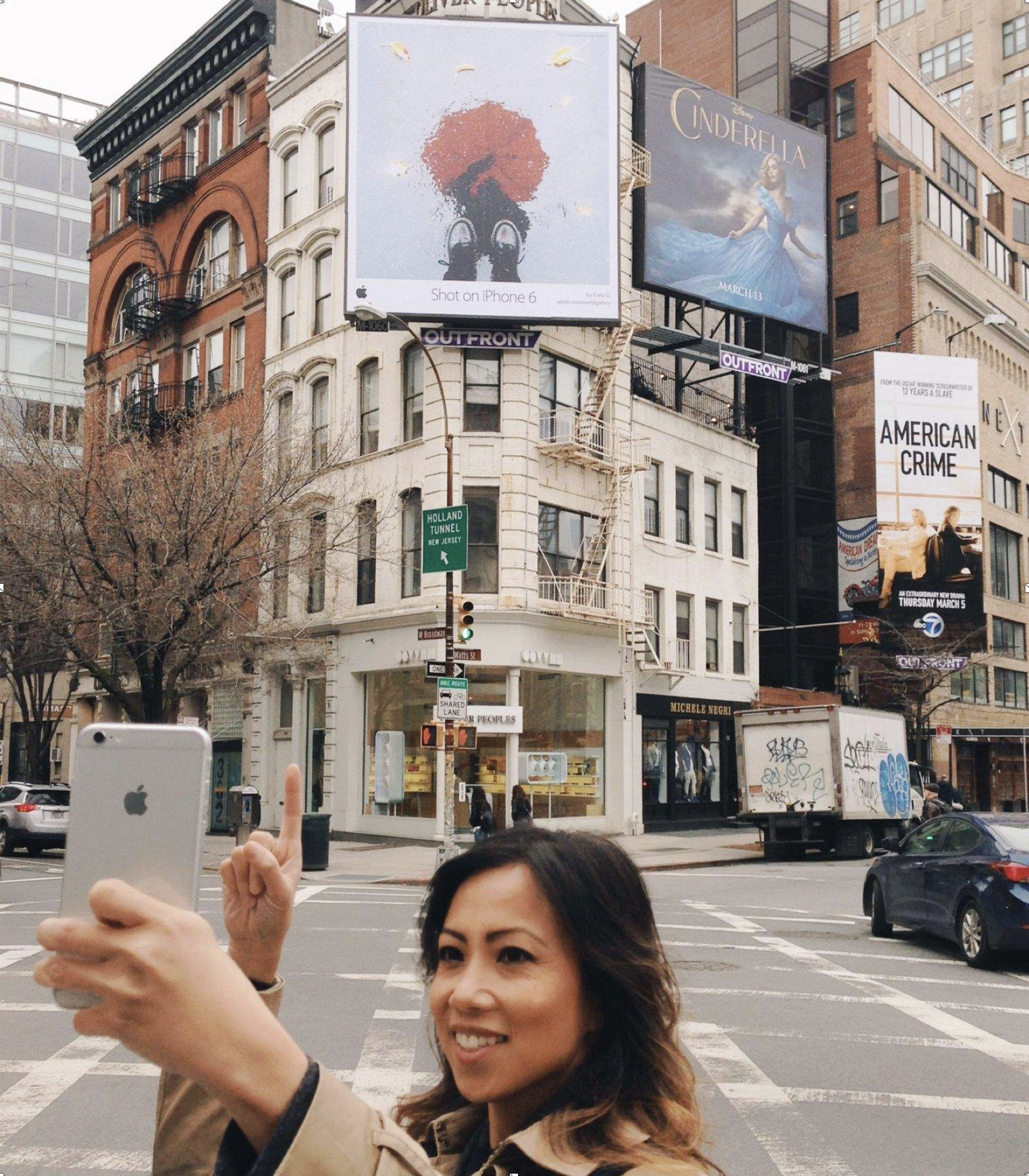 Cielo de la Paz traveled from her home in Alameda, Calif., to New York City to see her photo on a billboard. Photo: Courtesy of Cielo de la Paz