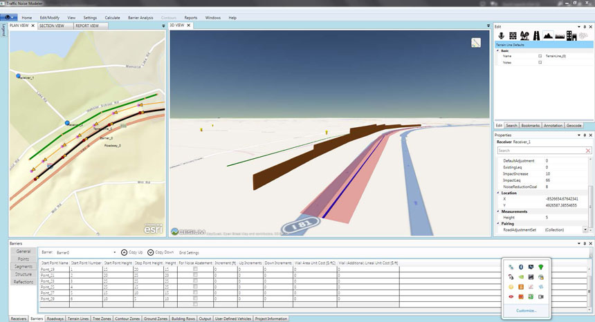 An example of highway noise barrier design, showing application features, plan, and 3-D views