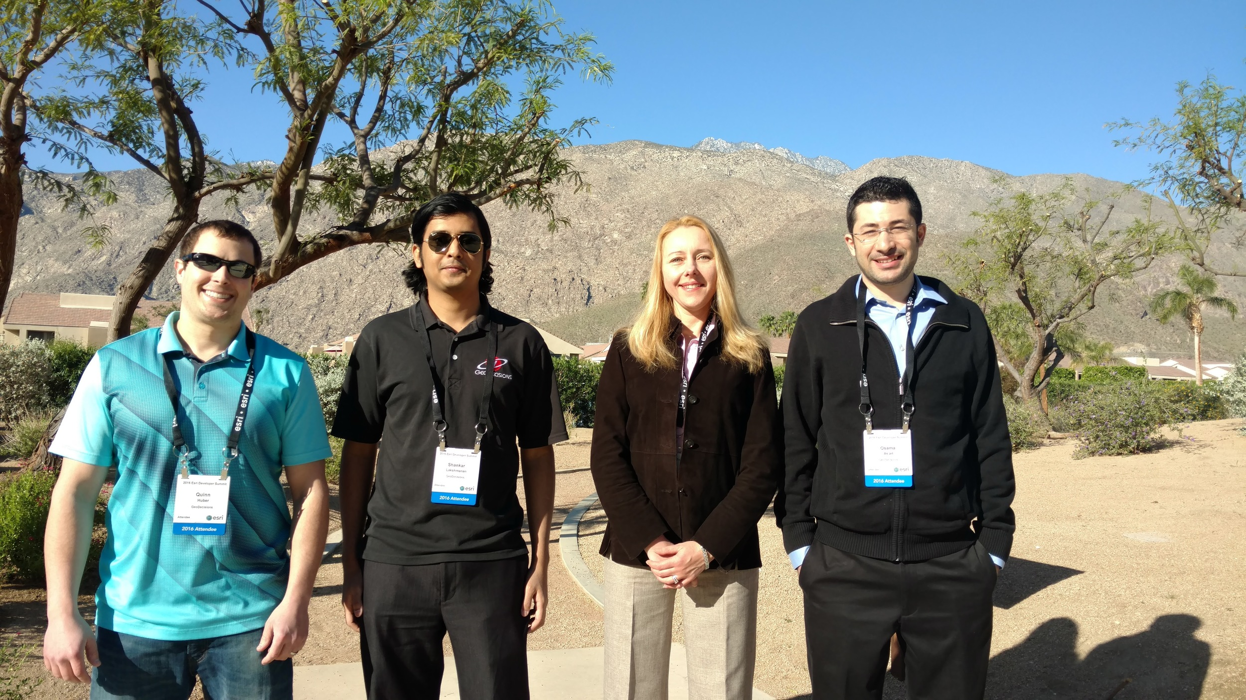 GeoDecisions team from left to right:Quinn Huber, Shankar Lakshmanan, Nаtаlliа Rоbinsоn, and Osama As'ad