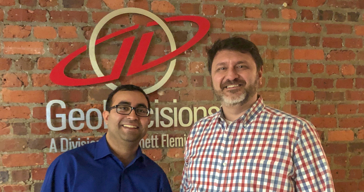 Subhash Jaini, CEO of Precizion Solutions and Brendan Wesdock, president of GeoDecisions.
