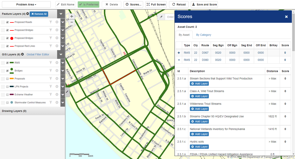 Proposal area selection screen – allows you to identify various assets (i.e., bridges and roads) included in potential project.