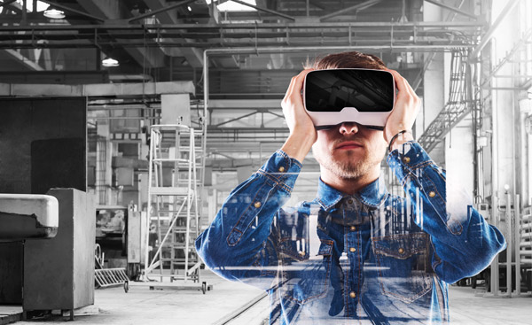 Interior of a building with a man using a virtual reality headset.