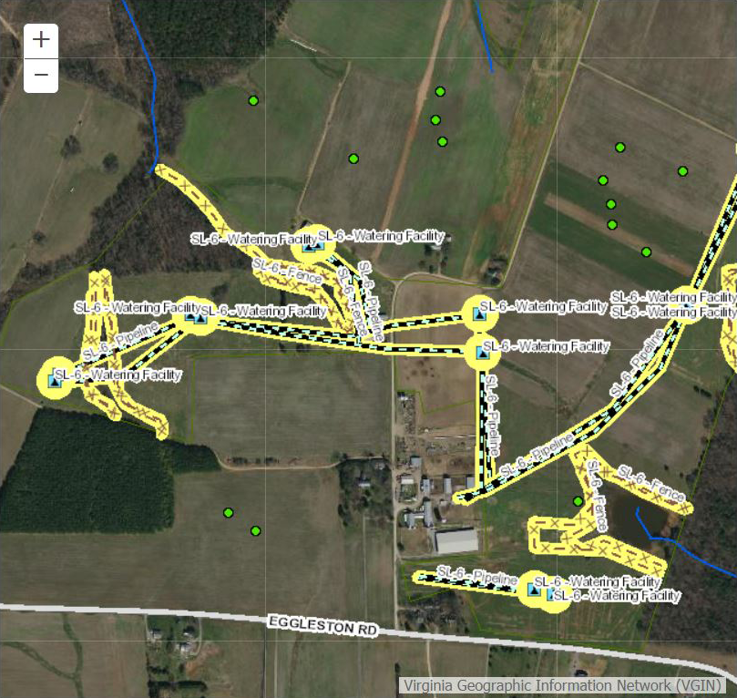 Virginia Department of Conservation and Recreation's application depicts the illustration of a BMP drawn along a stream using aerial imagery.