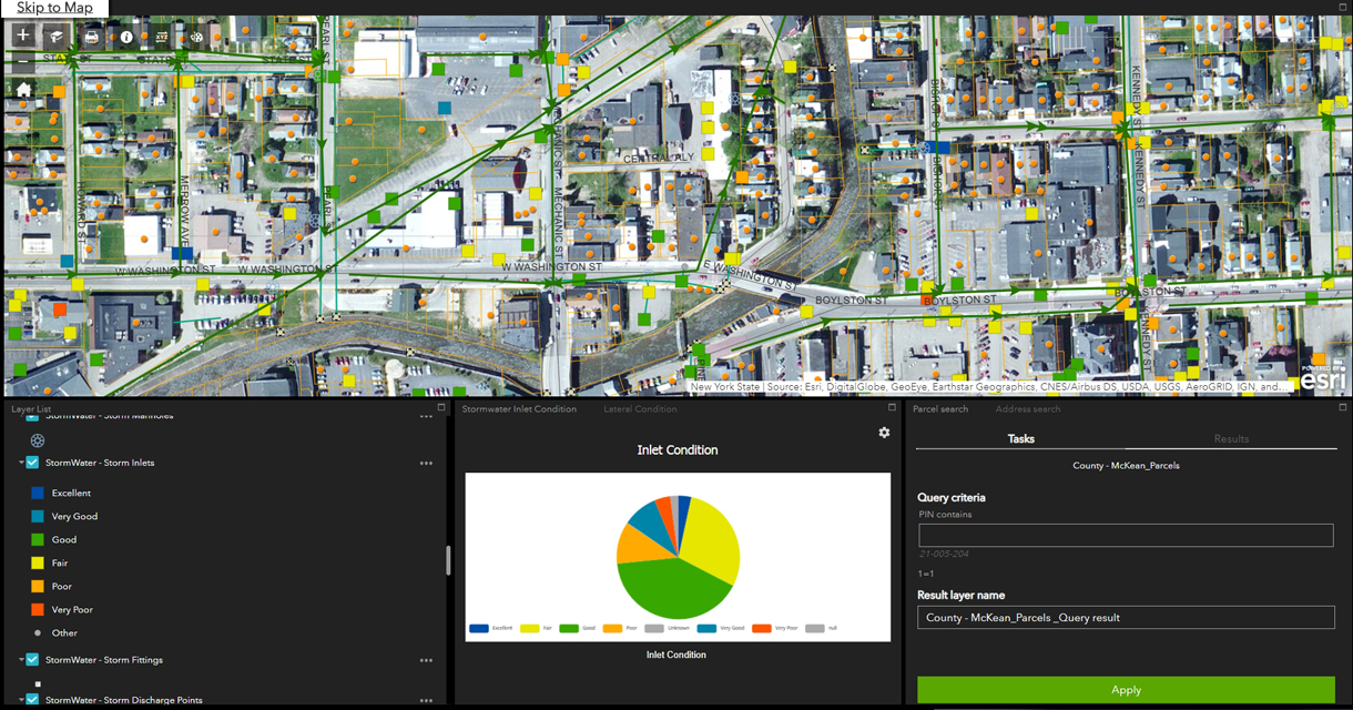 A stormwater Web AppBuilder dashboard displaying the inlet condition rating and search criteria.
