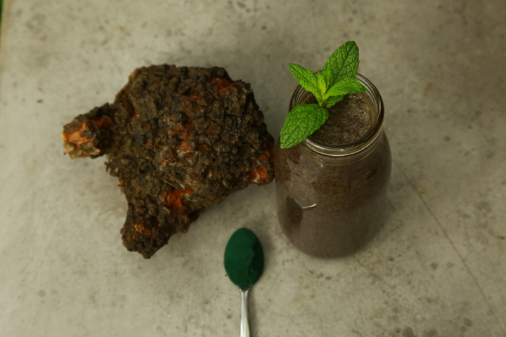 Spirulina Smoothie with Chaga tea decoction as base. Photo by Vincent Dumoulin, Cedar and Gold