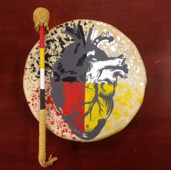 'First Nations Love' Drum Painting by Chippewar (photo used with permission from the artist)
