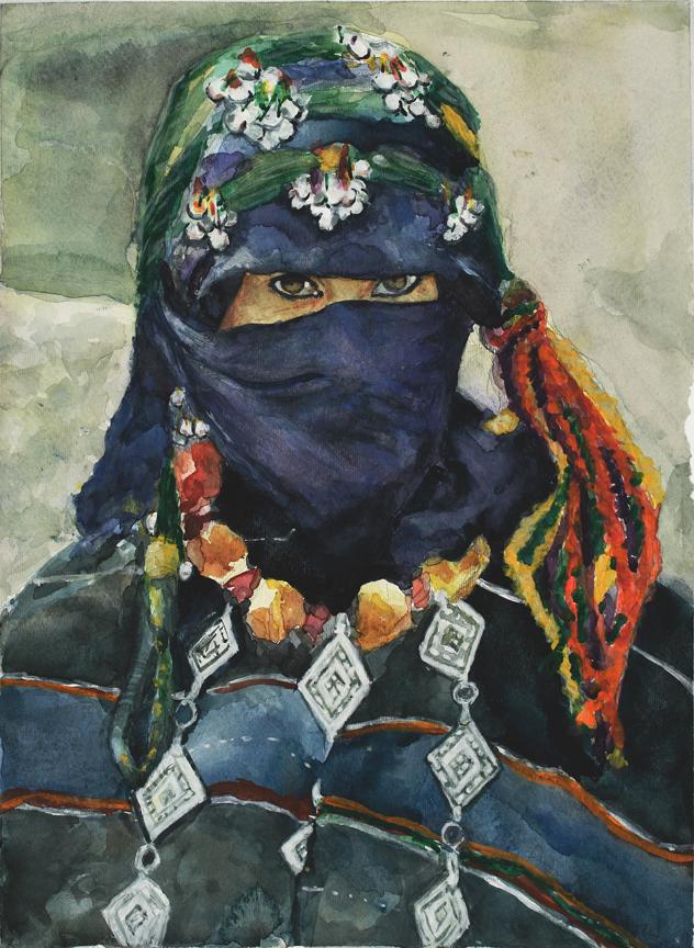 Moroccan Eyes, watercolor, NFS