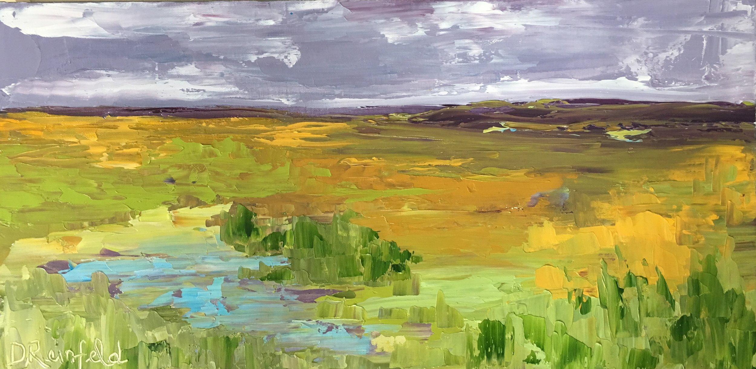 "Big Sky, Open Plains, oil on canvas, 12""x24"" $450"