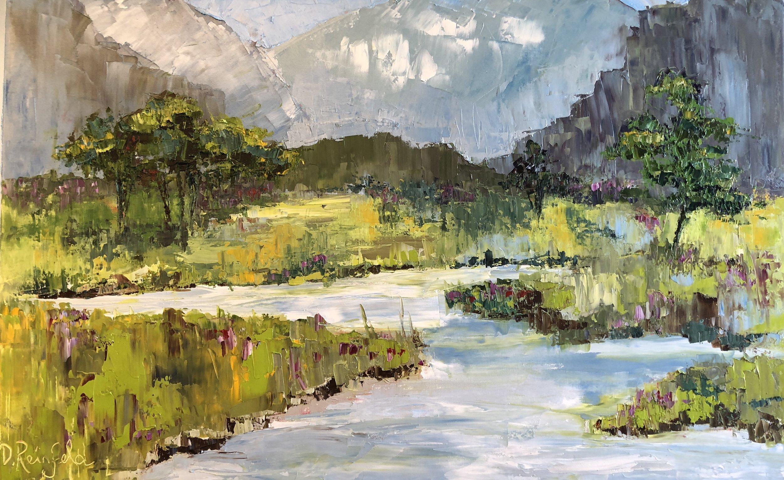 "Rocky Mountain Heaven, oil on canvas, 30""x48"" NFS"