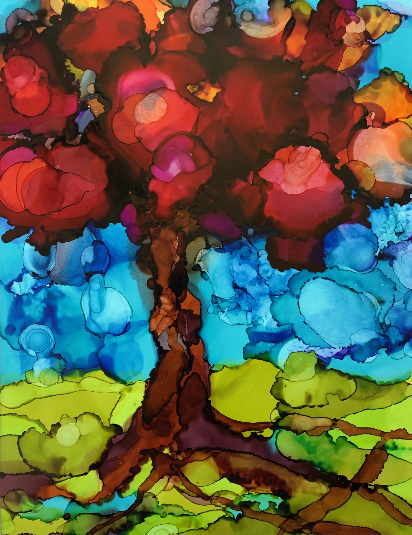 """Old Soul, alcohol ink on yupo paper, 14""""x11"""" $175"""