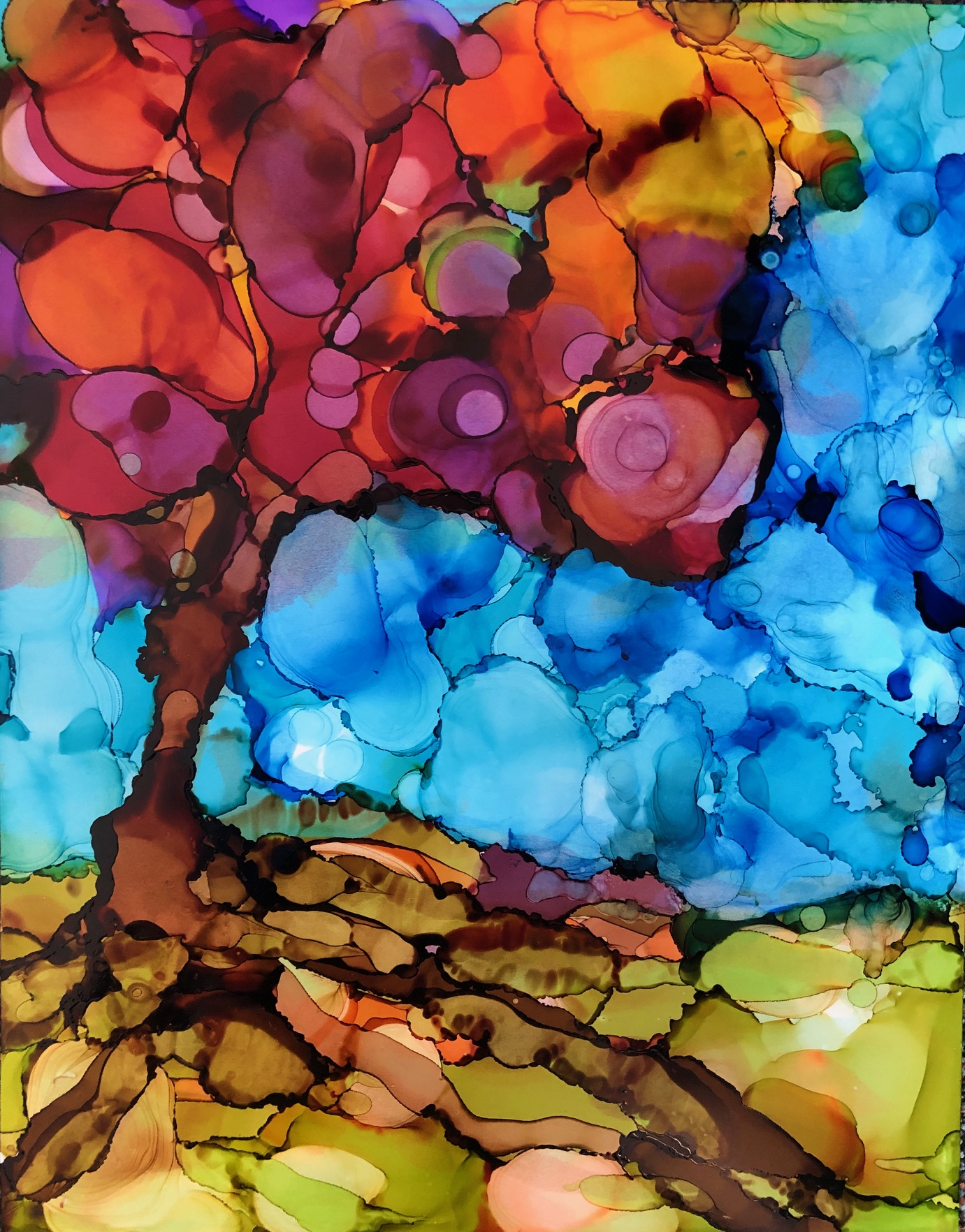 """Reaching Deep, alcohol ink on yupo paper, 14""""x11""""  $175"""