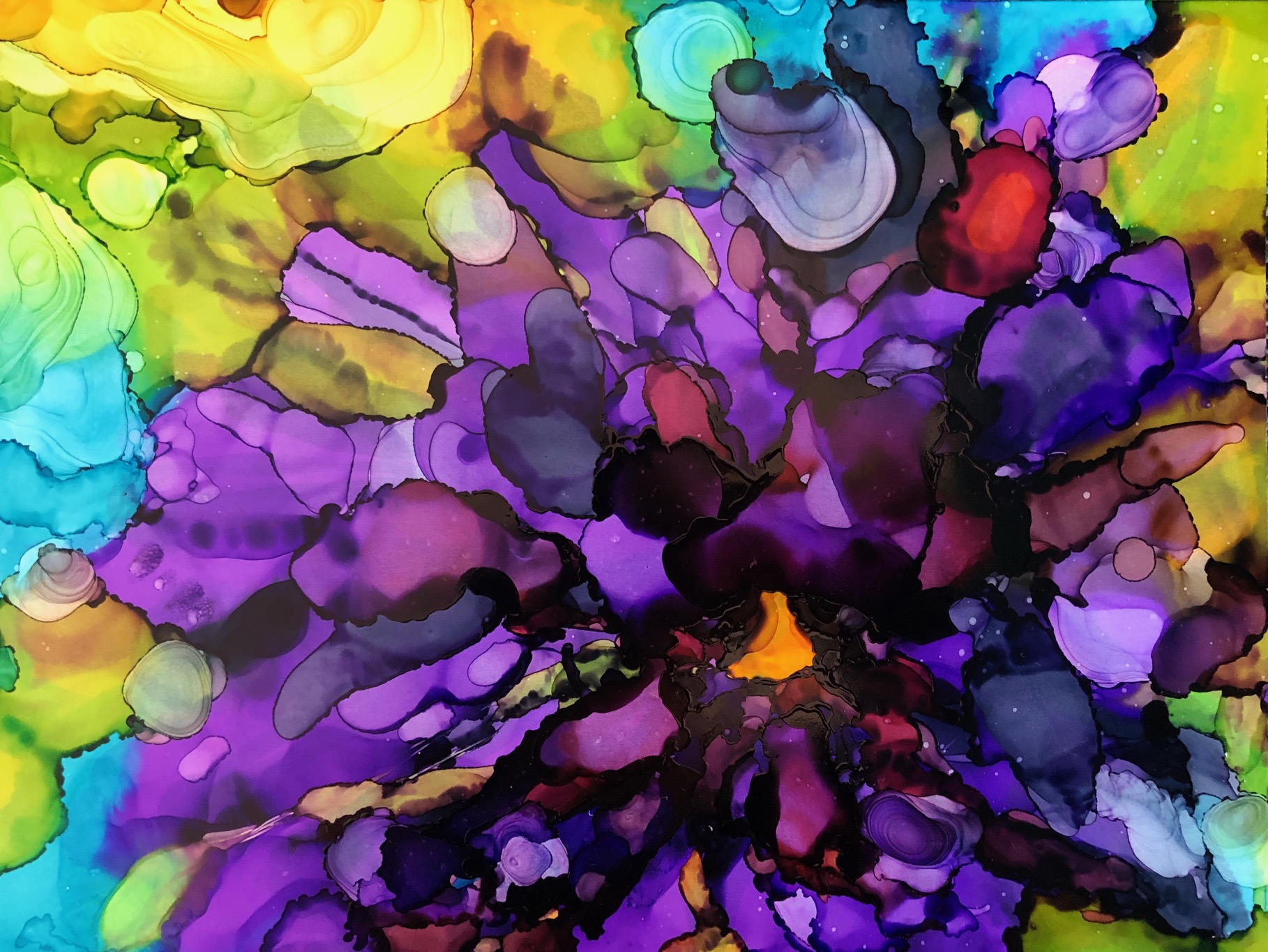 """Bloom, alcohol ink on yupo paper, 9""""x12"""" $120"""