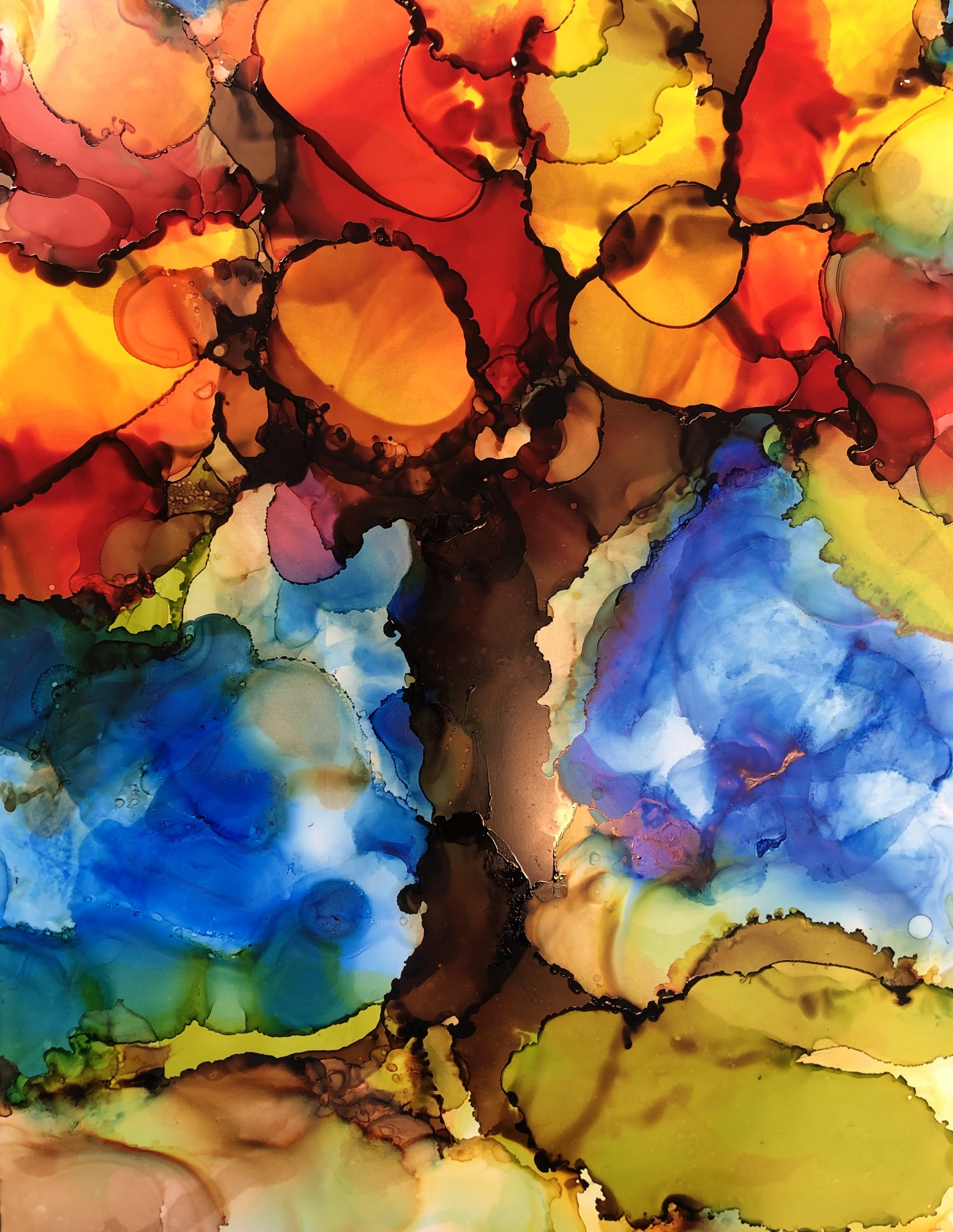 """Radiant, alcohol ink on yupo paper, 14""""x11"""" SOLD"""