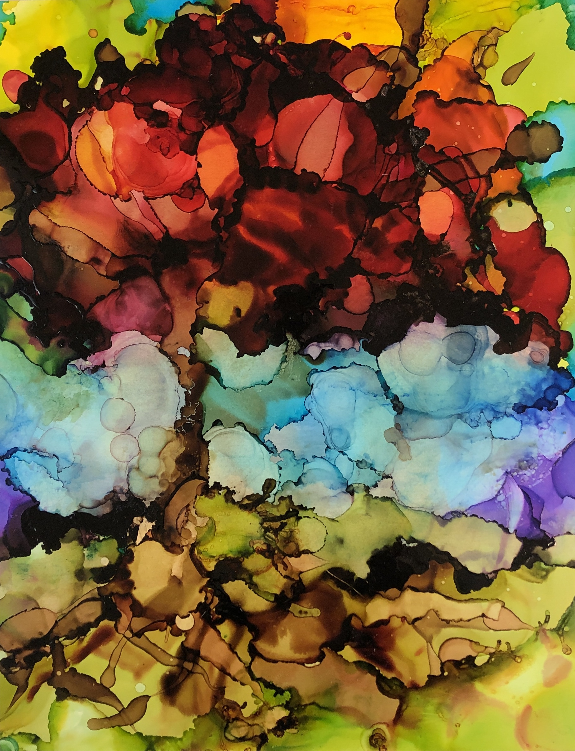 """Tree of Fire, alcohol ink on yupo paper, 14""""x11"""" SOLD"""