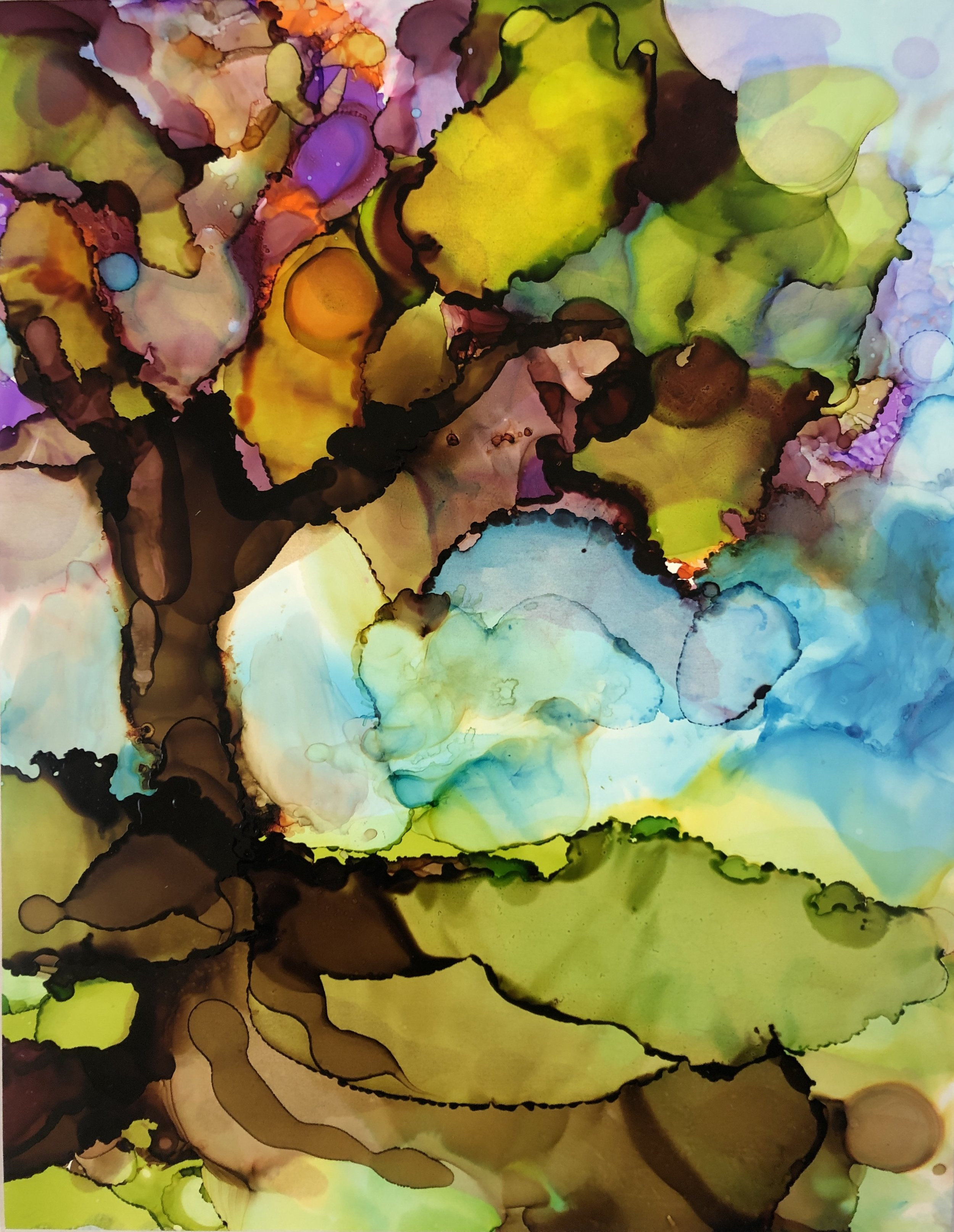 """Rainbow Tree, alcohol ink on yupo paper, 14""""x11"""" SOLD"""