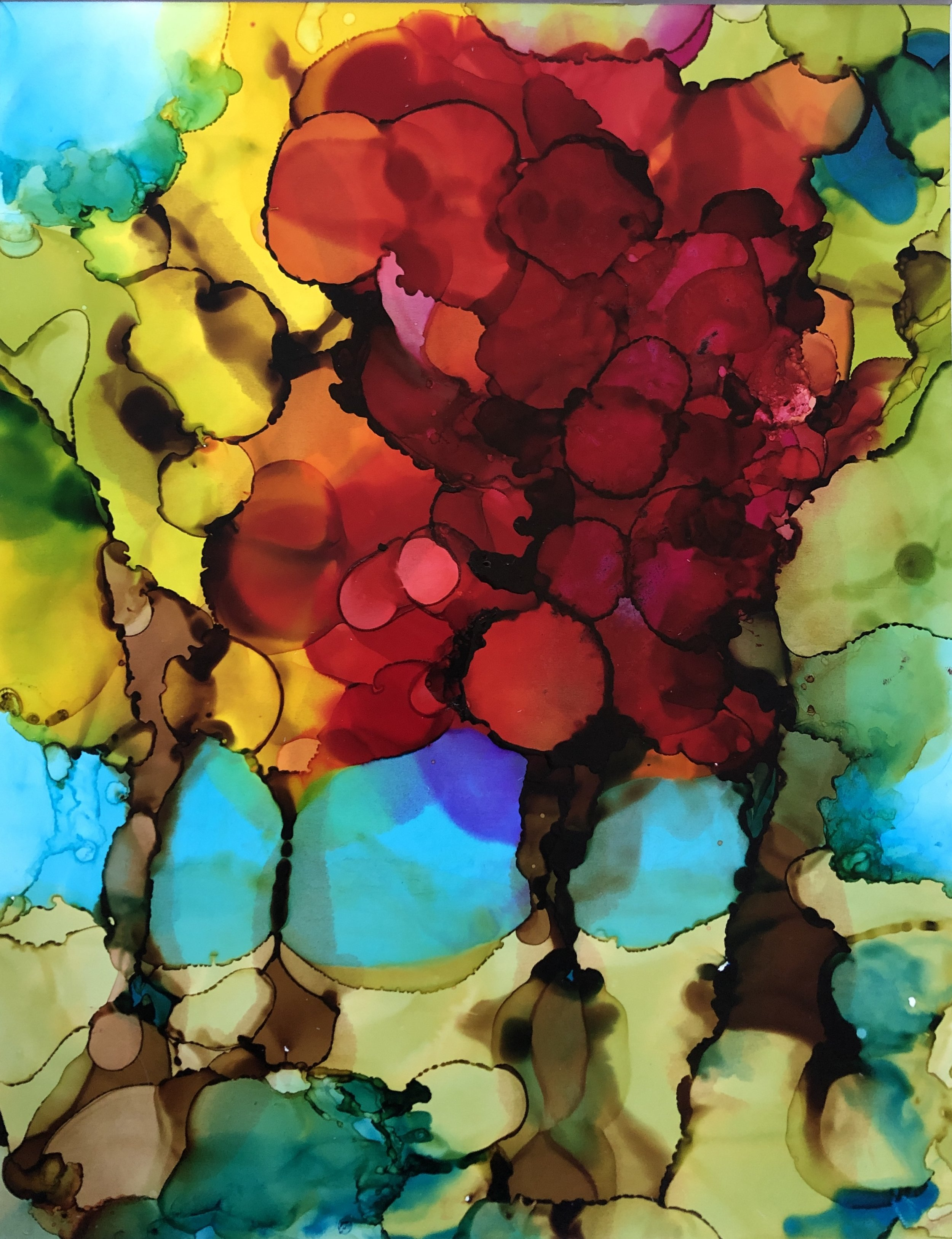 """Together, alcohol ink on yupo paper, 14""""x11""""  $175"""