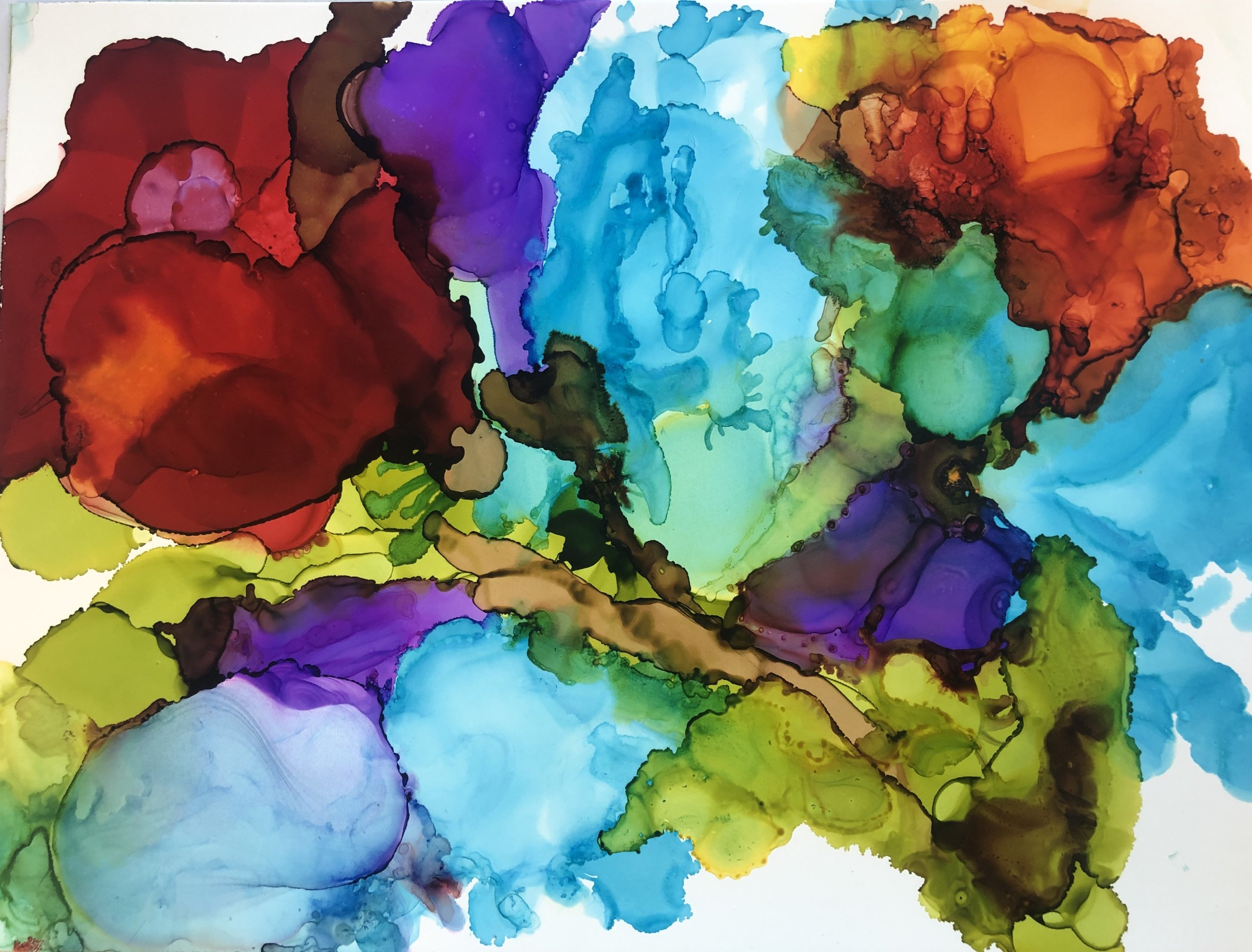 """Petals, alcohol ink on yupo paper, 9""""x12""""  $120"""