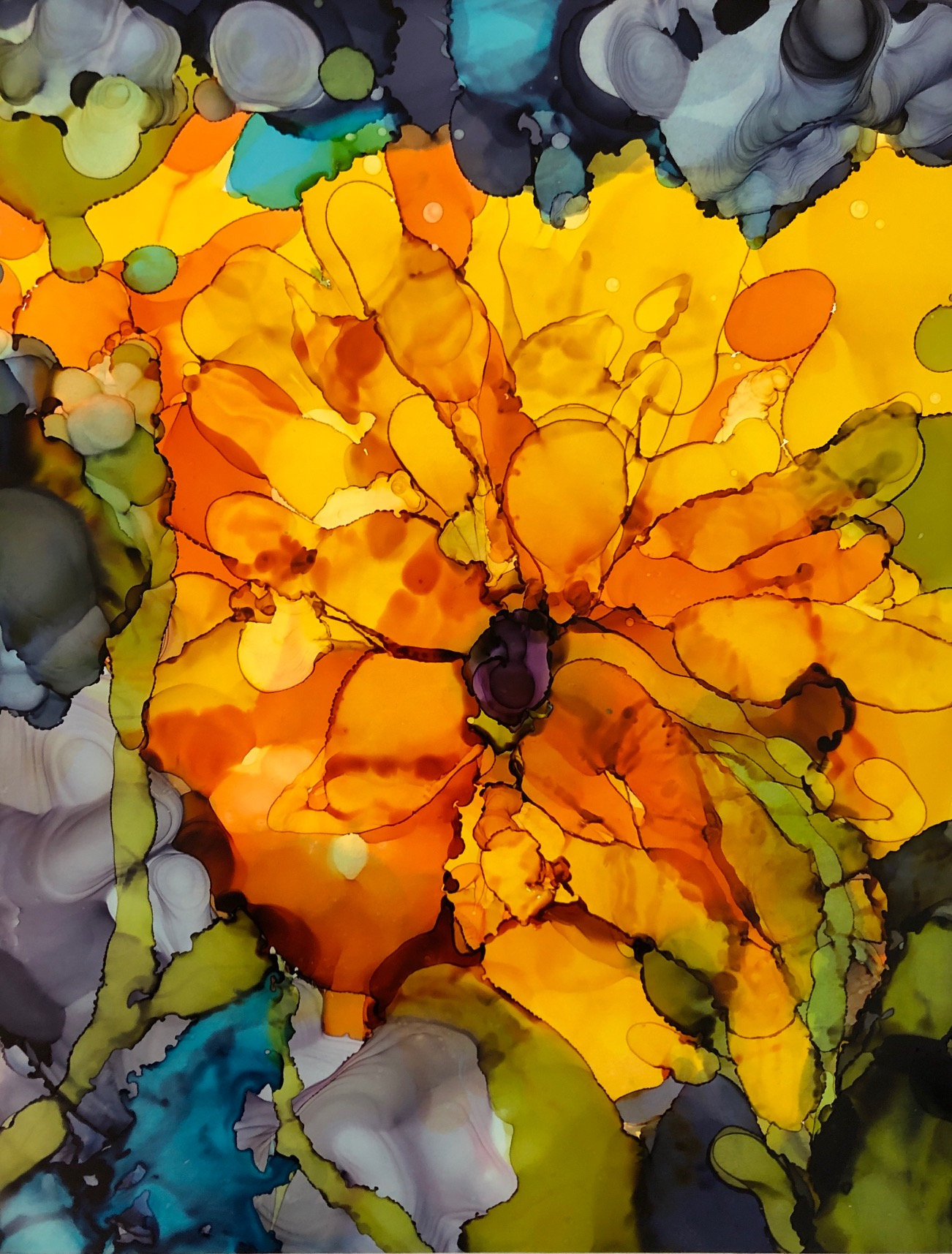 """Vivid, alcohol ink on yupo paper, 14""""x11"""" SOLD"""