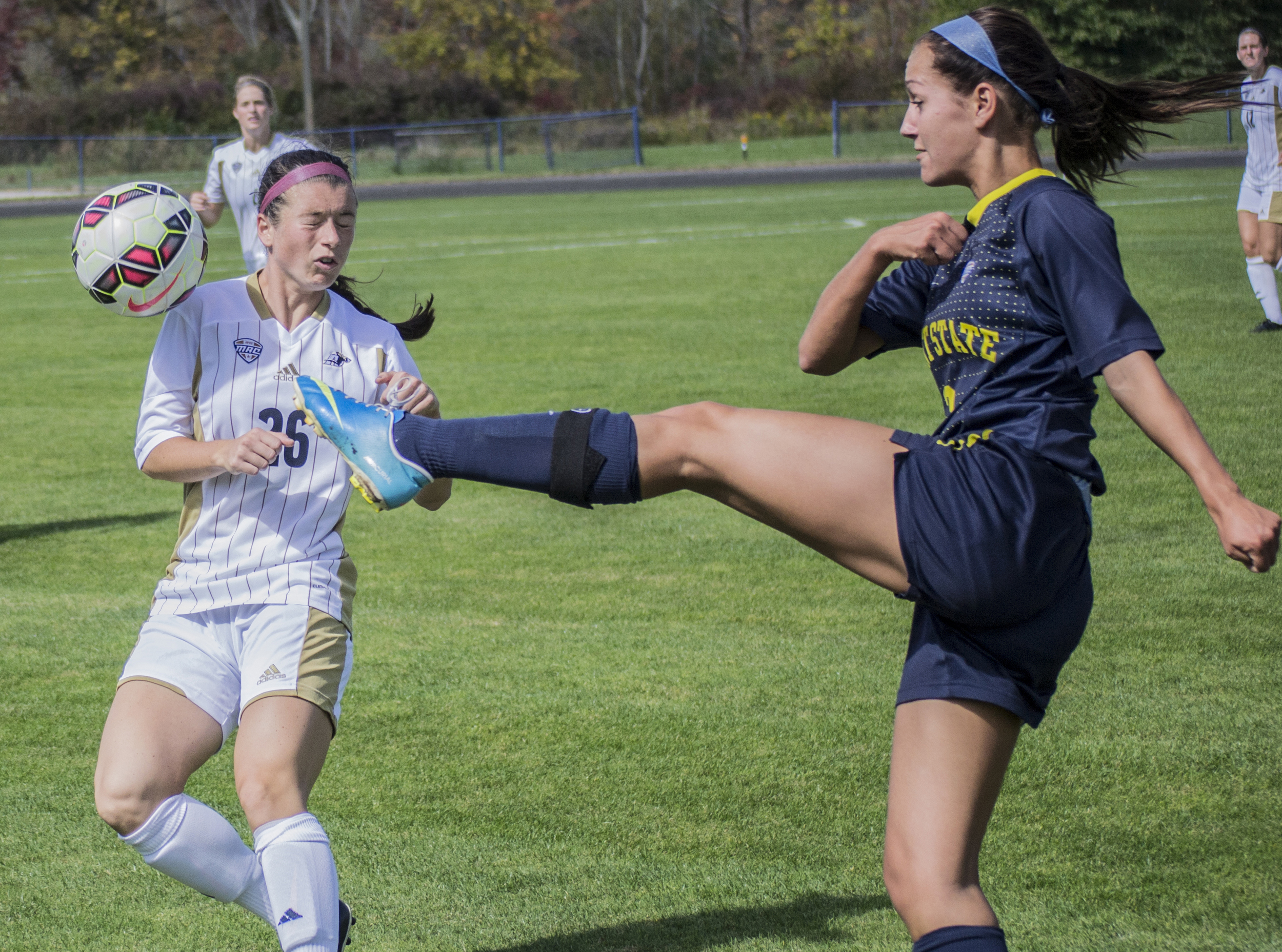 University of Akron Senior midfielder Danielle Reymann gets hit in the face with the ball during the Kent State versus Akron womens soccer rivalry game at Zoeller field on Sept. 28, 2014. Kent State went on to beat Akron 3-0 with a strong defense that kept Akron from taking a single shot on goal.