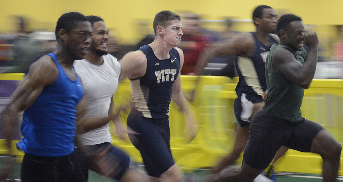 University of Pittsburgh sophomore sprinter Chris Spadaro competes in the 60m dash at the Golden Flash Gala indoor track meet on Dec. 6, 2014.Despite being primarily a long jumper and high jumper, Spadaro finished the 60m dash with a time of 7.25 seconds.