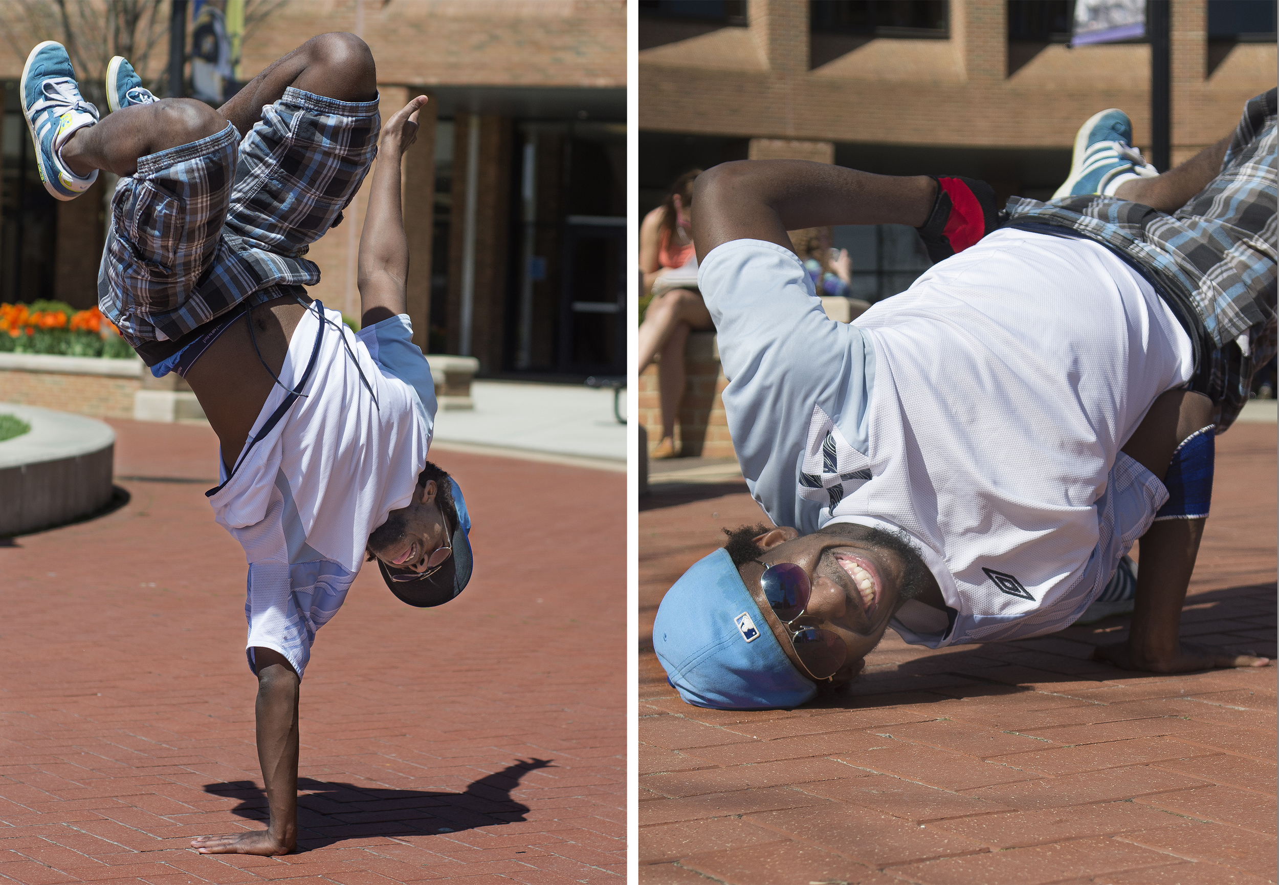 """Senior applied engineering major Alla Kora practices his break dancing at Kent State's Risman Plaza on April 29, 2015. When asked if he would change one thing about himself, Kora said he would not change anything. """"I love myself, I love who I am,"""" he said. """"I cannot say I am perfect, but life is good."""""""