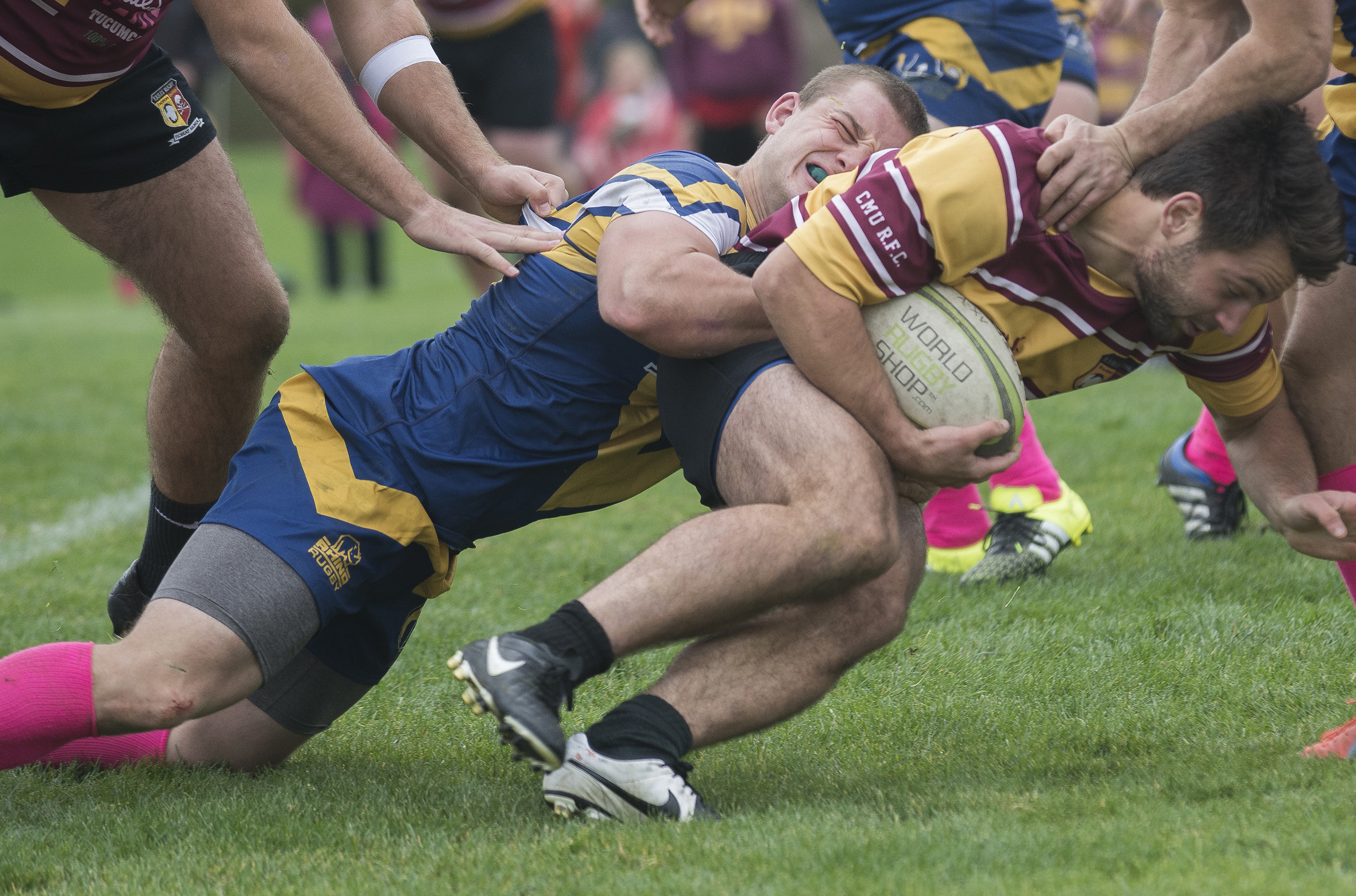 Kent State's Spencer Theiss tackles a Central Michigan player during the final Mens rugby home game of the season on October 31, 2015. Kent State fought hard to tie the match in the second half, but let in two late tries to lose 28-14.