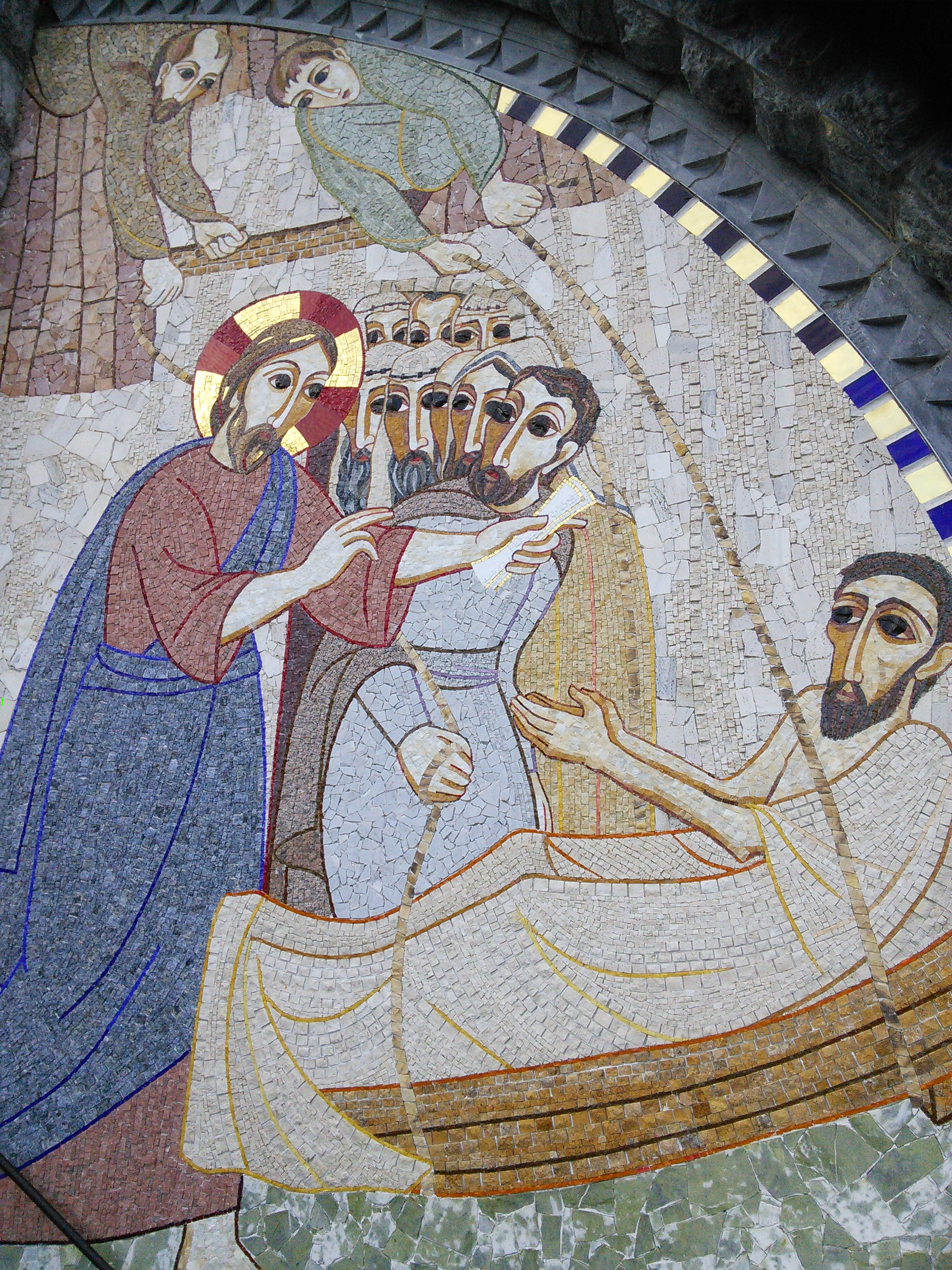 Jesus healing the paralysed man. Mosaic from the Rosary Basilica in Lourdes