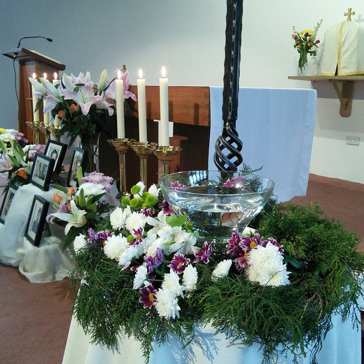 The chapel was beautiful, with flowers, the paschal candle, the font, all ready.