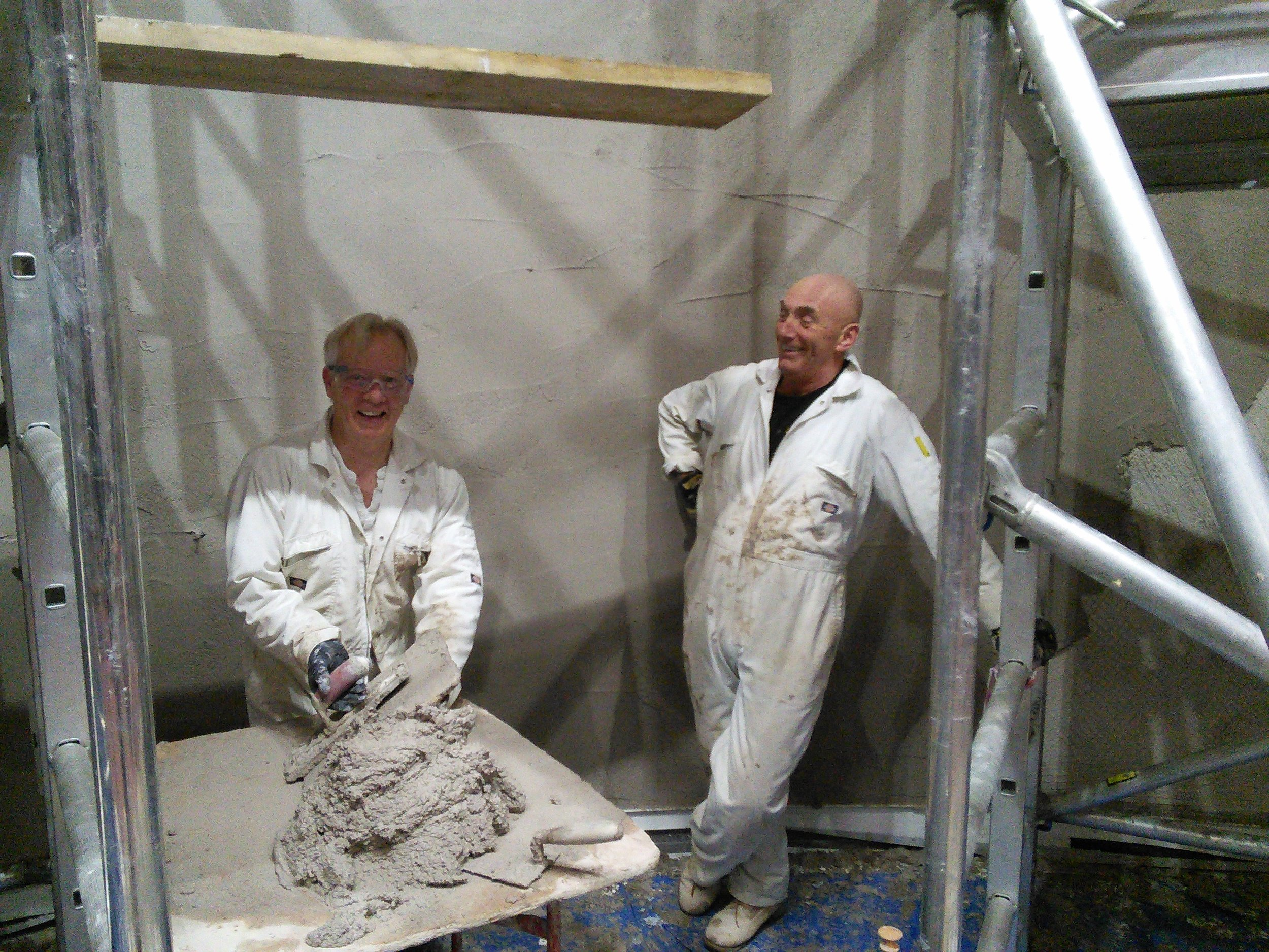 Lee Richards & Co, our wonderful lime plasterers, who spent two weeks over Christmas building up the layers of lime.