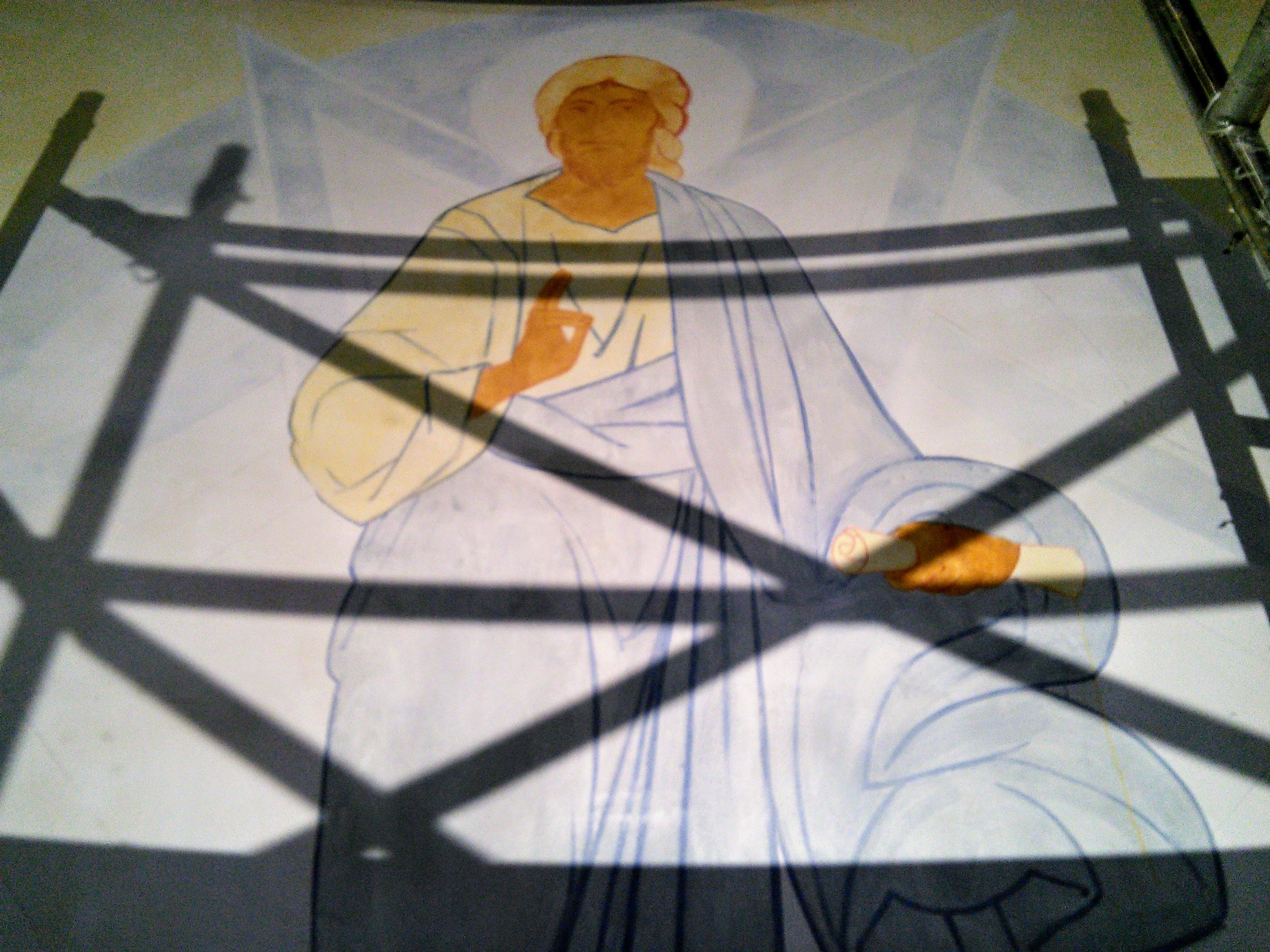 Christ, in the early stages of his Transfiguration! The first coats of paint applied.