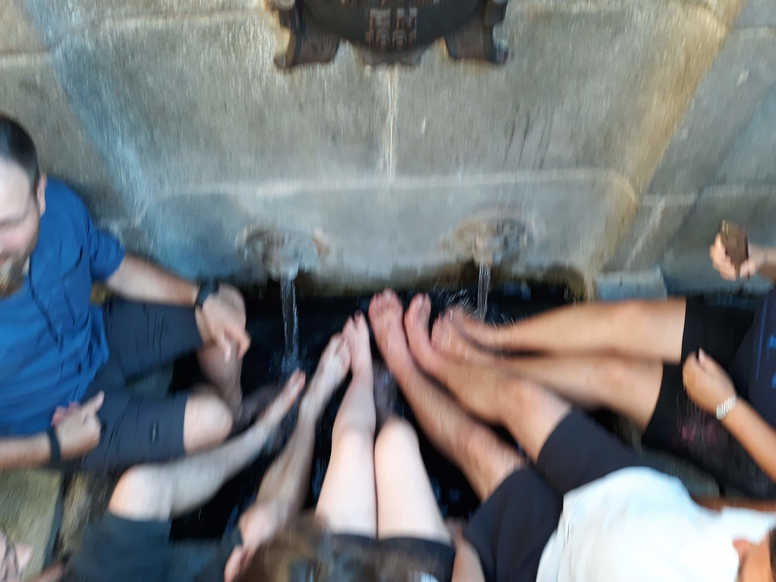Bathing our feet in the thermal springs at Caldas des Reyes
