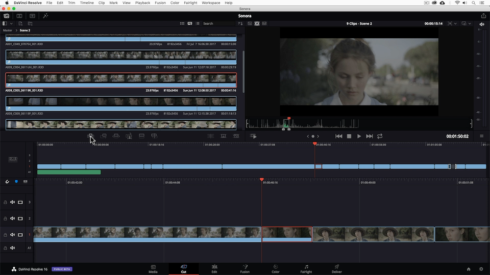 The Cut page is a new page in DaVinci Resolve 16 that is specifically designed for fast-paced editing.